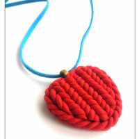 Handmade Red Heart Charm Necklace, Polymer Clay Jewelry, Stocking Stuffer, Heart Charm, Red Heart Pendant, Gift Ideas For Her, Heart Jewelry