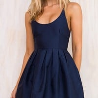 Blue High Waist Backless Skater Mini Dress