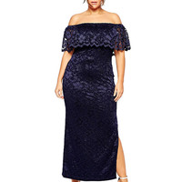 Off-Shoulder Embroidery Bodycon Maxi Slit Dress
