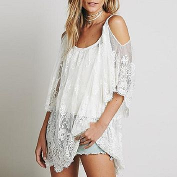 Sexy Off Shoulder Sleeve Beach Mini Dress