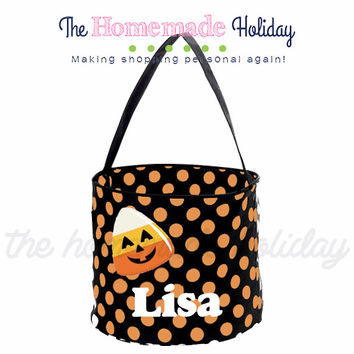Personalized Halloween trick or treat bag- Candy Corn halloween trick or treat bucket