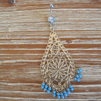 Belly Button Ring - Body Jewelry - Gold and Blue Dangly Charm with Lt Blue Gem Belly Button Ring