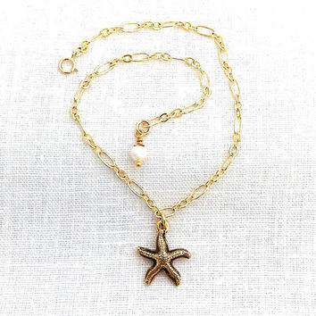 Gold Starfish Anklets for Women, Starfish and Pearl, Beachy Anklet, Star Fish Jewelry, Beach Ankle Bracelet, Beach Lover, Sea Star, 565