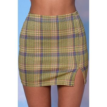 Country Club Side Slit Mini Skirt - Lemon