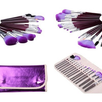 Makeup Brush Set (16pcs) Cosmetic Brushes with Leather Pouch Case = 1931769604