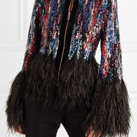Multi Color Sequins And Feather Jacket Blazer