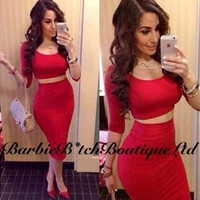 Womens High Waisted Cropped Outfit Two Piece Bodycon Dress