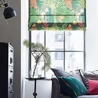 Quick Fix Washable Roman Window Shades Flat Fold,  Leaves and Flowers