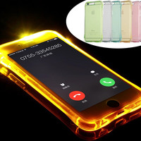 2016 Luxury New Soft TPU LED Flash Light Up Case Remind Incoming Call Cover For iPhone 7 7 Plus 5 5S 6 6S Plus 7Plus Case