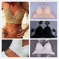 Feelingirl hand-knitted Crochet Knitting halter tops wrapped chest bikini sexy backless beachwear