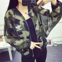 Adidas Women Fashion Camouflage Print Ultra Thin Hollow Zip Cardigan Long Sleeve Coat Sun Protection Clothing