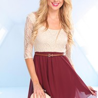 Beige and Burgundy Lace Skater Dress with Chiffon Skirt