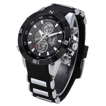 Mens Silicone Strap Dual Display Sport Watch