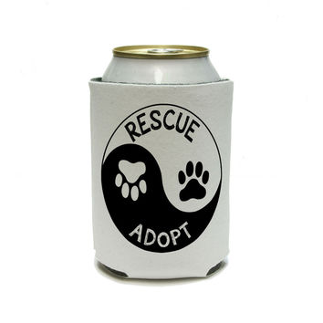 Rescue Adopt Yin Yang - Paw Prints Animals Dogs Cats Can Cooler Drink Insulator Beverage Insulated Holder