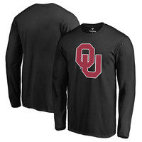 Men's Fanatics Branded Black Oklahoma Sooners Primary Logo Long Sleeve T-Shirt