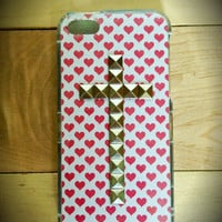 Valentine cross studded case for iPhone 4/4s and 5