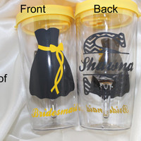 Bridesmaid gift - Set of 2 - Personalized WINE GLASS TUMBLER for your wedding party, bridesmaid gift, bridal gift - decorated on 2 sides