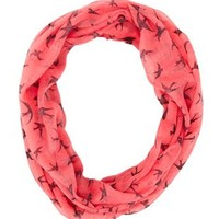 Coral Soaring Bird Infinity Scarf by Charlotte Russe