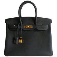 Hermes Black Birkin Bag 35cm Togo Leather Gold Hardware 2017 A