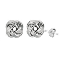 Sterling Silver Rhodium Finish 9mm Shiny Love Knot Stud Earrings