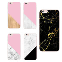 For Apple iPhone 4S 5S 6S 6Plus 7Plus 7 Samsung Galaxy Chic Marble Wood Texture Soft Clear Transparent TPU Printed Case