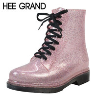 HEE GRAND Rain Boots Glitter Platform Women Boots Winter Ankle Boots Casual Shoes Woman Women Flats Shoes Size 36-40 XWX4356