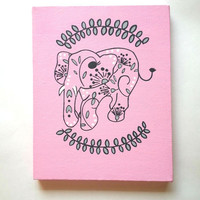 Elephant - pink and grey - fashionable acrylic canvas painting for trendy girls room or home decor