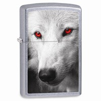Zippo Wolf With Red Eyes Street Chrome Lighter