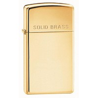 Zippo Slim Solid Brass Engraved Lighter