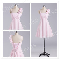 2014 A-line Chiffon Bridesmaid /Party / Evening /Prom / Formal Dresses Custom Made Handmade Flower Spaghetti Short New Design Dresses