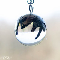 Crystal ball necklace sterling silver necklace gemstone necklace - Water