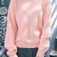 Pink Jewel Neck Sweater Pullover