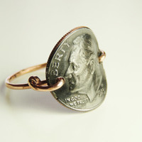 dime coin ring - custom size real dime rusty ring copper wire