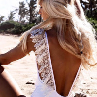 2018 Fashion Solid Color Sexy Lace Backless One Piece Swimwear