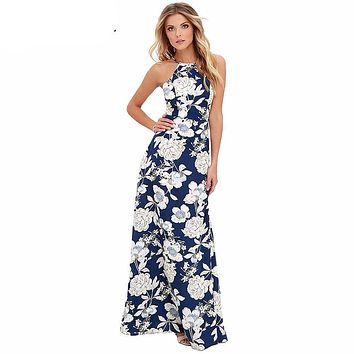 Halter Neck Hobo Maxi Floral Dress