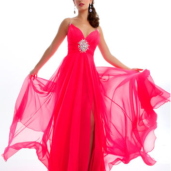 Mac Duggal Prom 2013 - Candy Pink Chiffon Gown With Rhinestone - Unique Vintage - Cocktail, Pinup, Holiday & Prom Dresses.