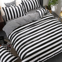 1.8m 4Pcs Modern Striped Duvet Cover Set -SheIn(Sheinside)