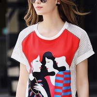 Three Girls Print Mesh T-Shirt