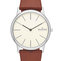 Skagen Denmark Mens Silver Tone and Leather Watch