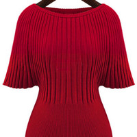 Red Half Sleeve Knit Sweater
