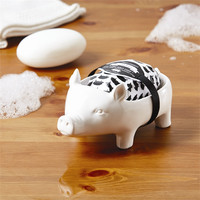 Pig Soap Dish with Shea Butter Scent Bar Soap