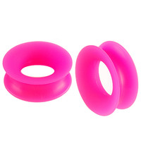 Double-Flared Tunnel [Gauge: 15/16 inch - 24mm] Flexible Silicone (Pink) // Set of 2