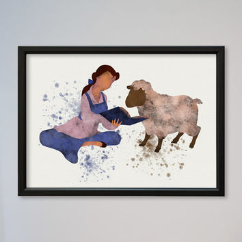 Beauty and the Beast Belle Poster Watercolor print Disney Kids art Wall Hanging little girl Nursery art gift Belle reading book to sheep