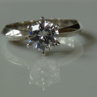 Stamped 925 Sterling Silver Round Cut Cubic Zirconia Ring