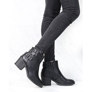 One More Dance Faux Leather Ankle Bootie with Buckle Detail in Black