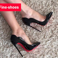 Women Sexy Patent Leather Stilettos 2016 New Thin Heel High Heels Party Pumps Pointy Toe Shoes 911