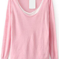 Pink Contrast Collar Long Sleeve Knit Sweater
