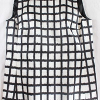 """~~~ CHECK YOU OUT ~~~ MICHAEL KORS SILK-BLEND """"CHECKED"""" SLEEVELESS TOP ~~~ 4"""