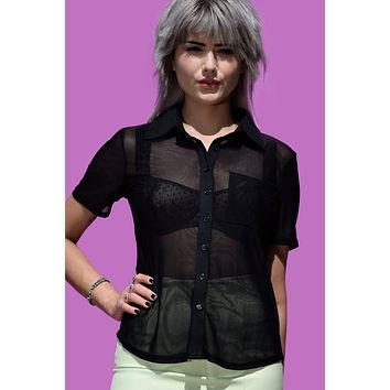 See Right Thru Me Button Up Blouse