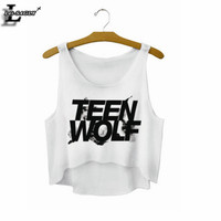 """""""Teen Wolf"""" Letters Crop Top Summer Style Tank Top Women Tops Cheap Clothes China Cropped Fashion Mujer Sport Camisole F722"""